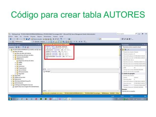 Código para crear tabla AUTORES