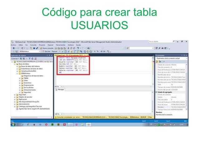 Código para crear tabla USUARIOS