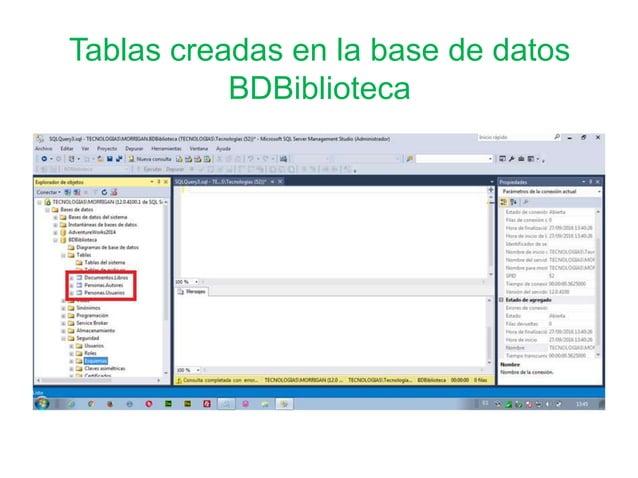Tablas creadas en la base de datos BDBiblioteca
