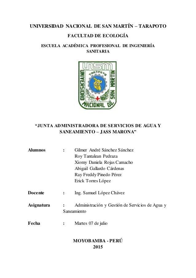 """UNIVERSIDAD NACIONAL DE SAN MARTÍN – TARAPOTO FACULTAD DE ECOLOGÍA ESCUELA ACADÉMICA PROFESIONAL DE INGENIERÍA SANITARIA """"..."""