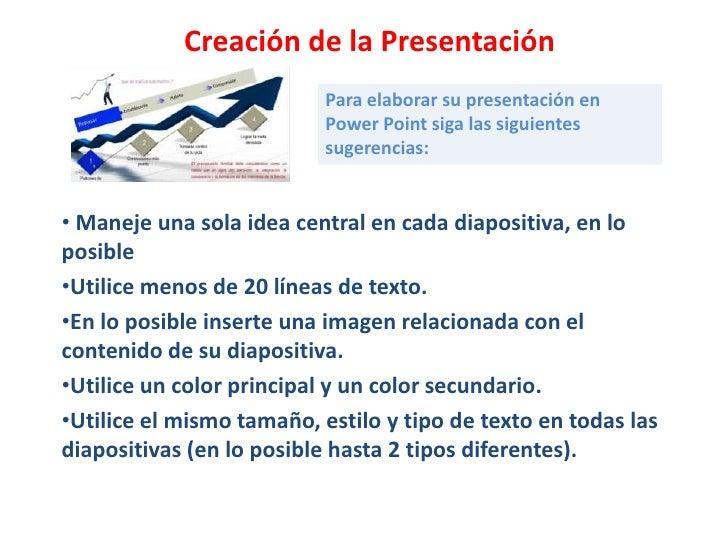 Creación de la Presentación                          Para elaborar su presentación en                          Power Point...