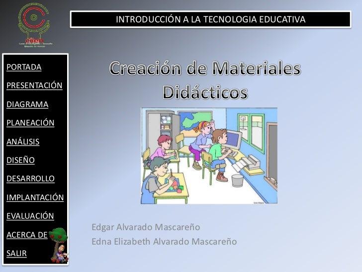 INTRODUCCIÓN A LA TECNOLOGIA EDUCATIVA    PORTADA  PRESENTACIÓN  DIAGRAMA  PLANEACIÓN  ANÁLISIS  DISEÑO  DESARROLLO  IMPLA...