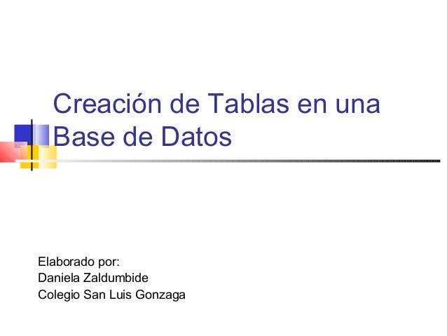 Creación de Tablas en una Base de Datos Elaborado por: Daniela Zaldumbide Colegio San Luis Gonzaga