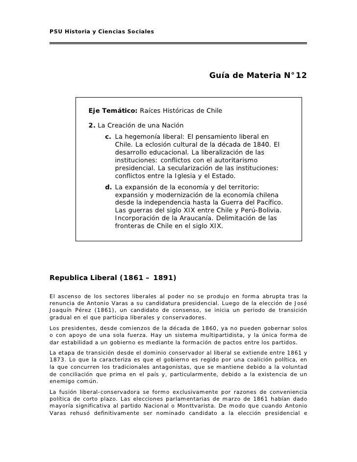 PSU Historia y Ciencias Sociales                                                          Guía de Materia N°12            ...