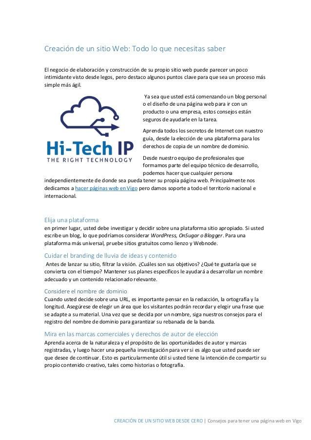 CREACIÓN DE UN SITIO WEB DESDE CERO | Consejos para tener una página web en Vigo Creación de un sitio Web: Todo lo que nec...