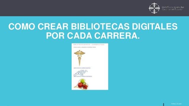 Ambato, Ecuador COMO CREAR BIBLIOTECAS DIGITALES POR CADA CARRERA.