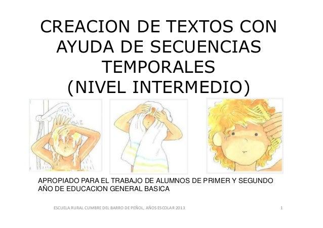 CREACION DE TEXTOS CON AYUDA DE SECUENCIAS TEMPORALES (NIVEL INTERMEDIO) ESCUELA RURAL CUMBRE DEL BARRO DE PEÑOL, AÑOS ESC...
