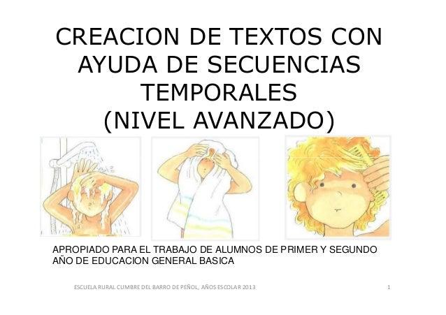 CREACION DE TEXTOS CON AYUDA DE SECUENCIAS TEMPORALES (NIVEL AVANZADO) ESCUELA RURAL CUMBRE DEL BARRO DE PEÑOL, AÑOS ESCOL...