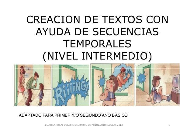 CREACION DE TEXTOS CON AYUDA DE SECUENCIAS TEMPORALES (NIVEL INTERMEDIO) ADAPTADO PARA PRIMER Y/O SEGUNDO AÑO BASICO 1ESCU...