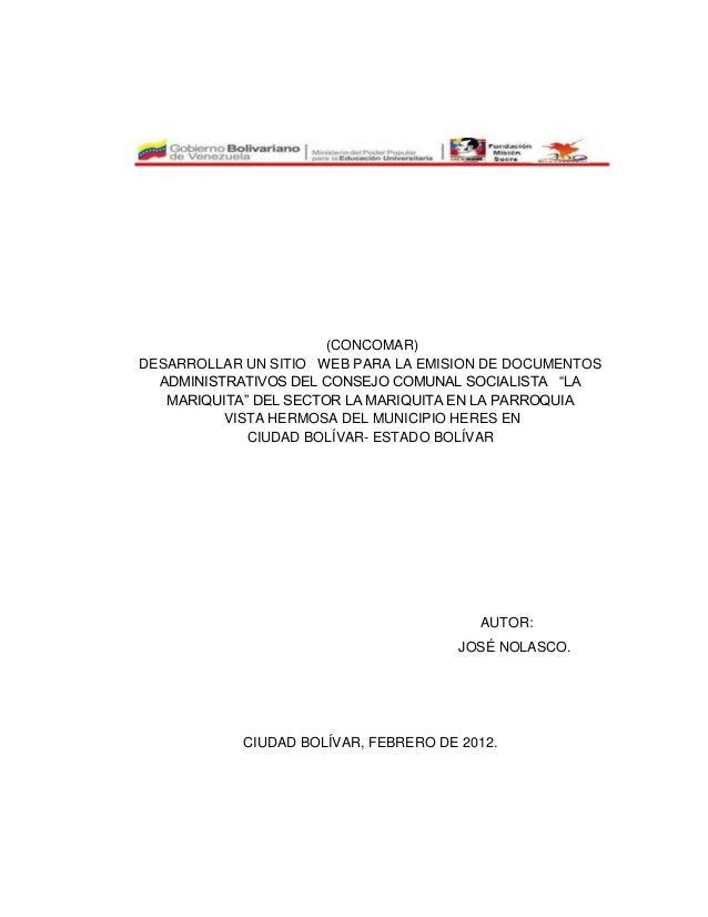 Creacion de una pagina web para el consejo comunal del for Sitio web ministerio del interior