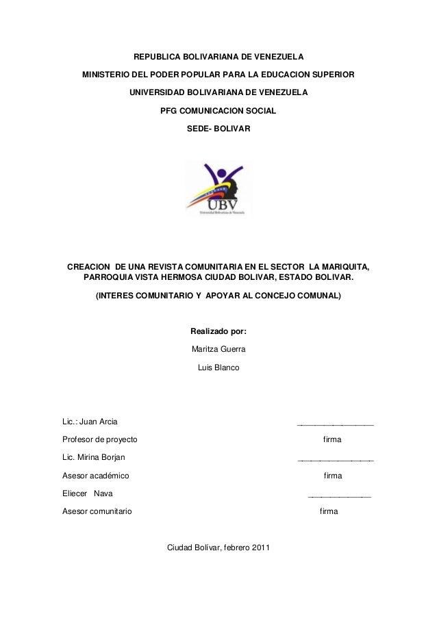 REPUBLICA BOLIVARIANA DE VENEZUELA MINISTERIO DEL PODER POPULAR PARA LA EDUCACION SUPERIOR UNIVERSIDAD BOLIVARIANA DE VENE...