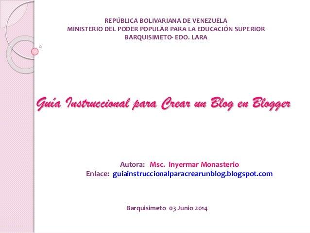 REPÚBLICA BOLIVARIANA DE VENEZUELA MINISTERIO DEL PODER POPULAR PARA LA EDUCACIÓN SUPERIOR BARQUISIMETO- EDO. LARA Guía In...