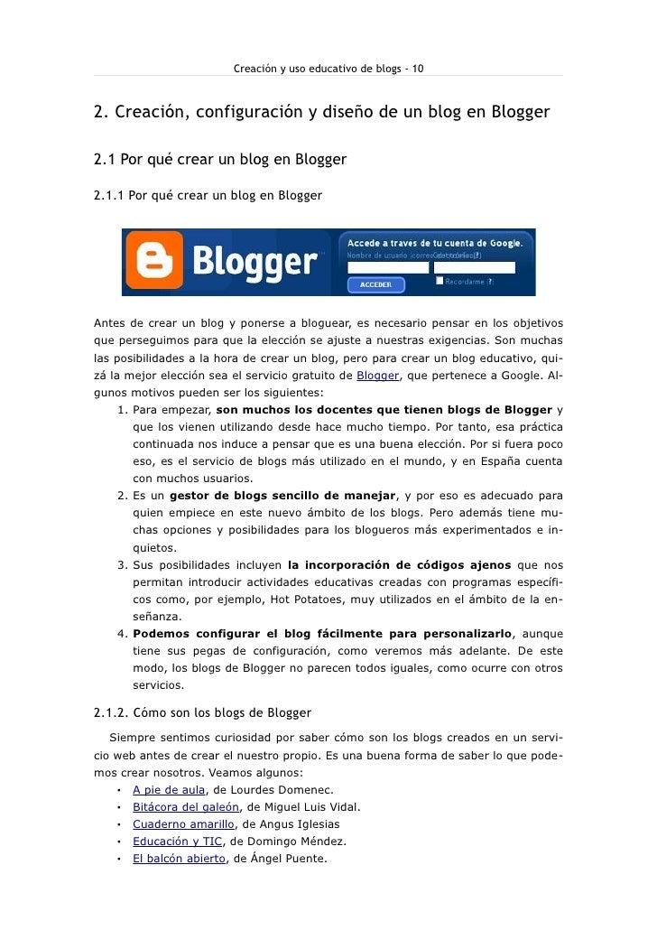 Creación y uso educativo de blogs - 10    2. Creación, configuración y diseño de un blog en Blogger  2.1 Por qué crear un ...
