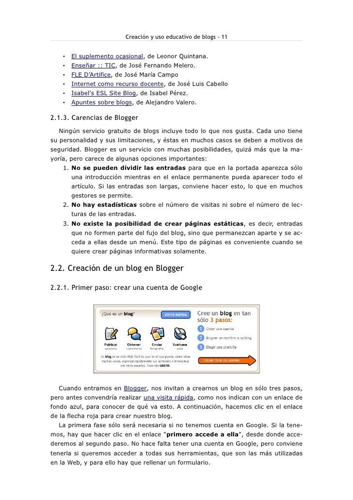 Creación y uso educativo de blogs - 11           El suplemento ocasional, de Leonor Quintana.     •         Enseñar :: TIC...