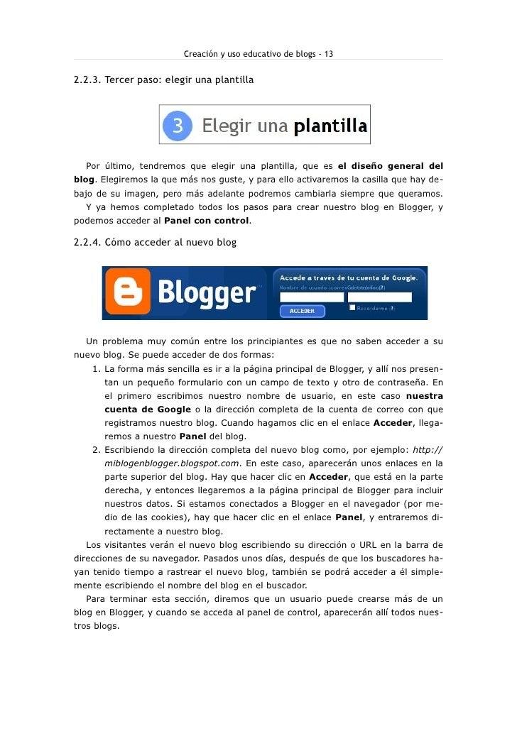 Creación y uso educativo de blogs - 13   2.2.3. Tercer paso: elegir una plantilla       Por último, tendremos que elegir u...