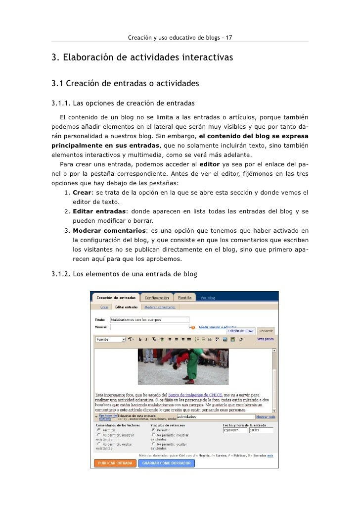 Creación y uso educativo de blogs - 17   3. Elaboración de actividades interactivas  3.1 Creación de entradas o actividade...