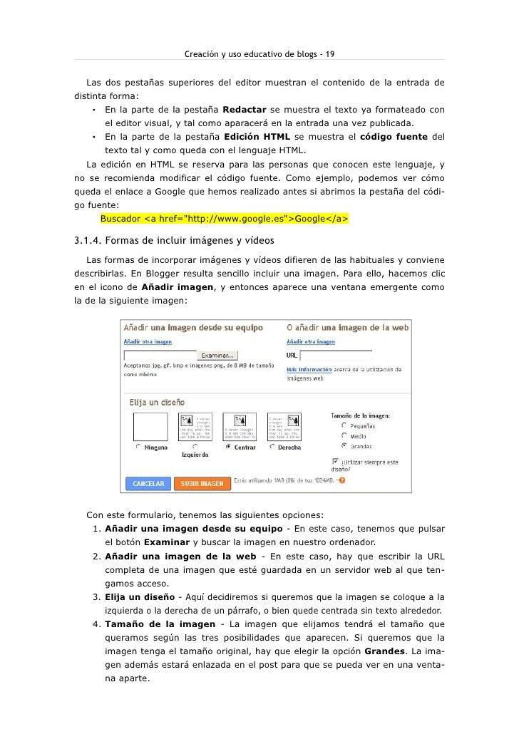 Creación y uso educativo de blogs - 19     Las dos pestañas superiores del editor muestran el contenido de la entrada de d...