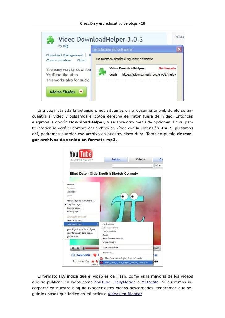 Creación y uso educativo de blogs - 28       Una vez instalada la extensión, nos situamos en el documento web donde se en-...