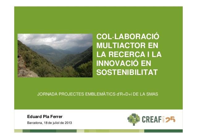 JORNADA PROJECTES EMBLEMÀTICS d'R+D+i DE LA SMAS Barcelona, 18 de juliol de 2013 Eduard Pla Ferrer COL·LABORACIÓ MULTIACTO...