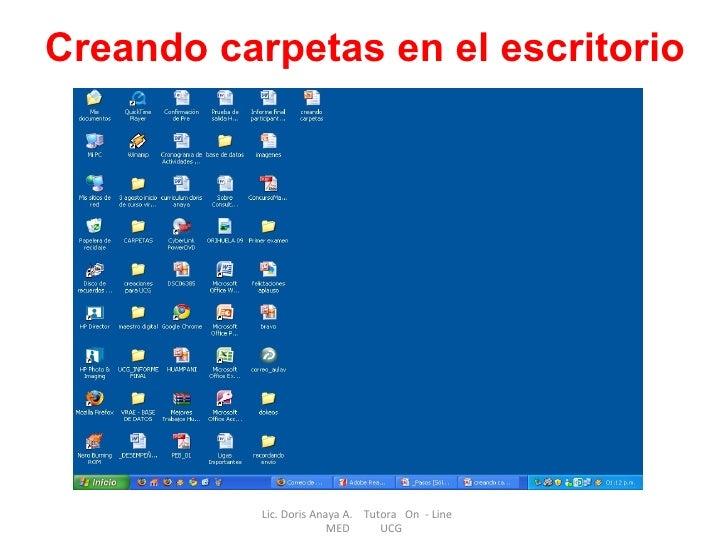 Lic. Doris Anaya A.  Tutora  On  - Line  MED  UCG Creando carpetas en el escritorio