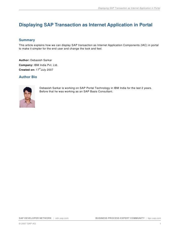 Displaying SAP Transaction as Internet Application in Portal     Displaying SAP Transaction as Internet Application in Por...