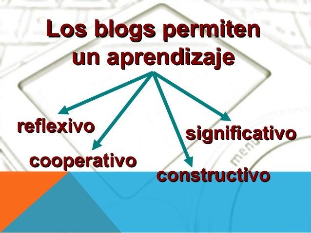 Los blogs permiten     un aprendizajereflexivo         significativo cooperativo               constructivo