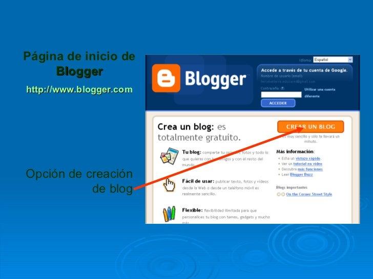 Página de inicio de     Bloggerhttp://www.blogger.comOpción de creación           de blog
