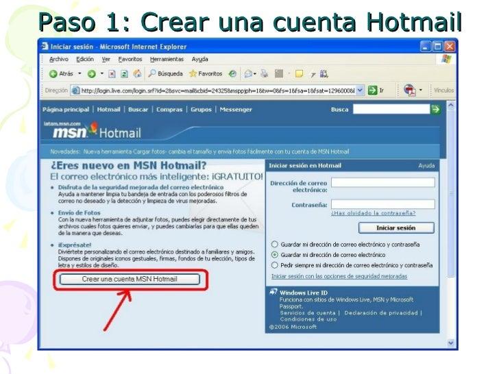 Crear una cuenta de Correo Electronico en Hotmail Slide 2