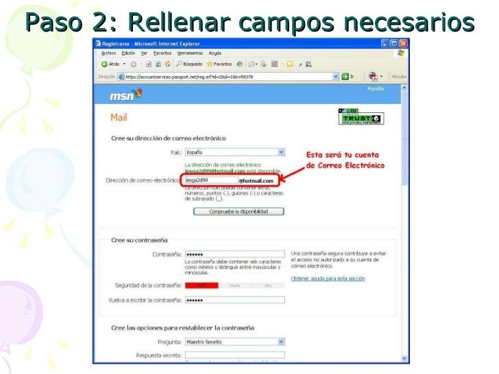 Crear una cuenta de Correo Electronico en Hotmail Slide 3