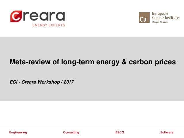 ESCOConsulting SoftwareEngineering Meta-review of long-term energy & carbon prices ECI - Creara Workshop / 2017