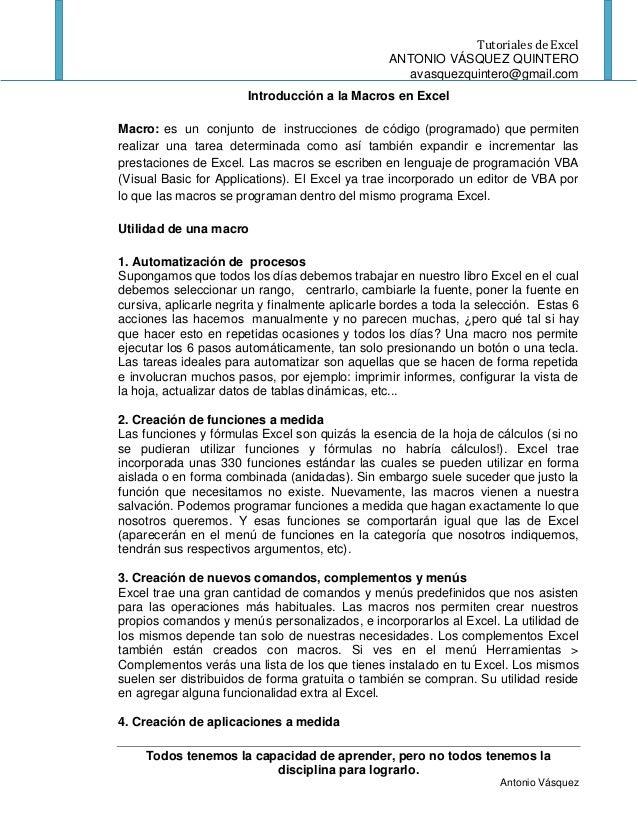 Tutoriales de Excel                                                 ANTONIO VÁSQUEZ QUINTERO                              ...