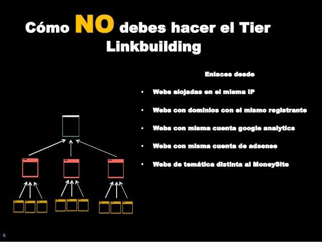 6 Cómo NO debes hacer el Tier Linkbuilding Enlaces desde • Webs alojadas en el misma IP • Webs con dominios con el mismo...