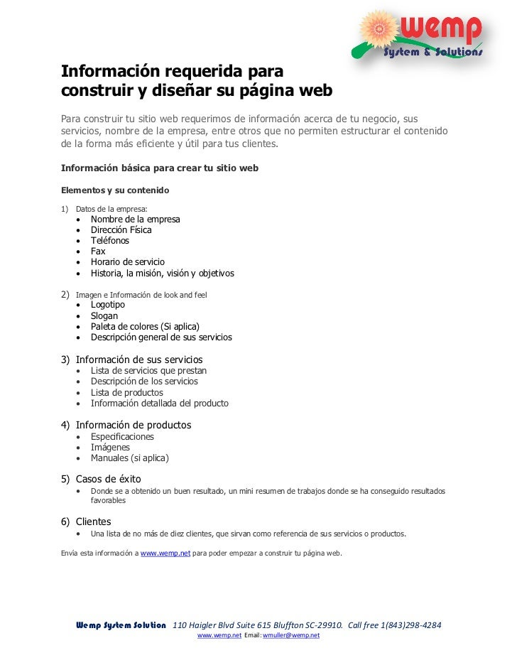 Información requerida paraconstruir y diseñar su página webPara construir tu sitio web requerimos de información acerca de...