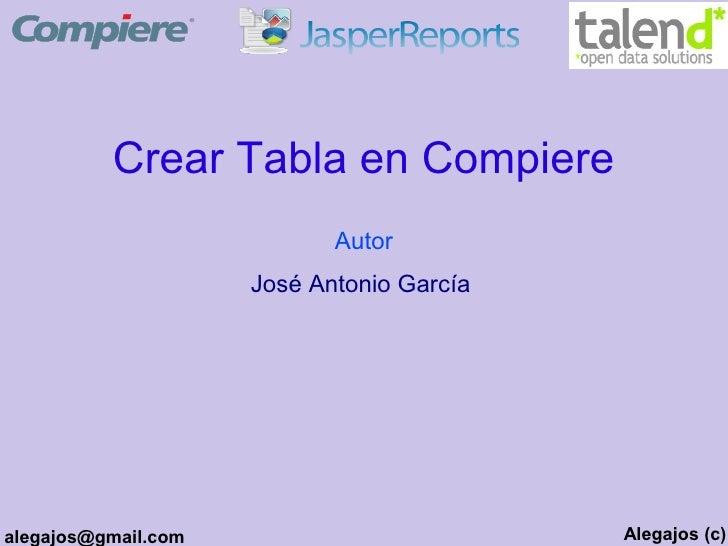 Crear Tabla en Compiere                             Autor                      José Antonio García     alegajos@gmail.com ...