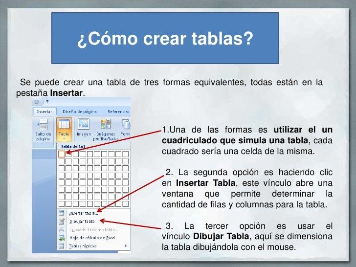Cmo crear tablas en Word