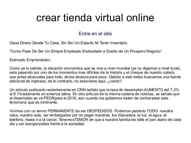 """crear tienda virtual onlineEntre en el sitioGana Dinero Desde Tu Casa, Sin Ser Un Experto Ni Tener Inventario.""""Como Pase D..."""