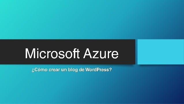 Crear un blog de word press Slide 1