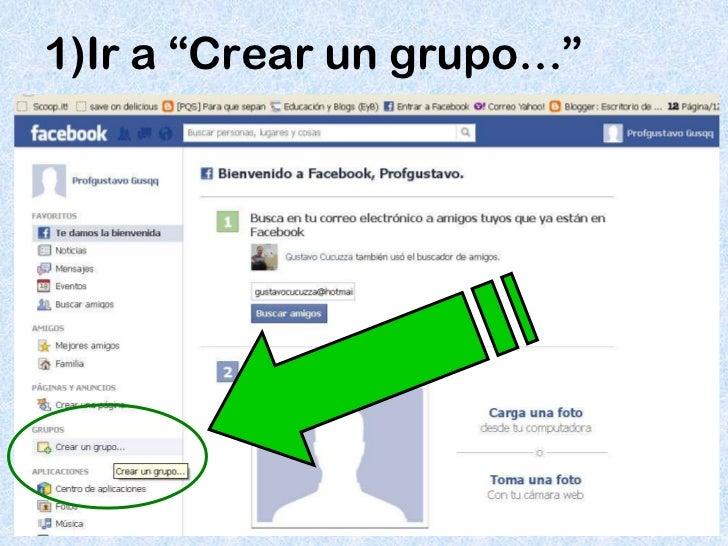 """1)Ir a """"Crear un grupo…"""""""