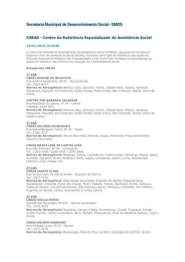 Secretaria Municipal de Desenvolvimento Social - SMDS CREAS - Centro de Referência Especializado de Assistência Social 29/...