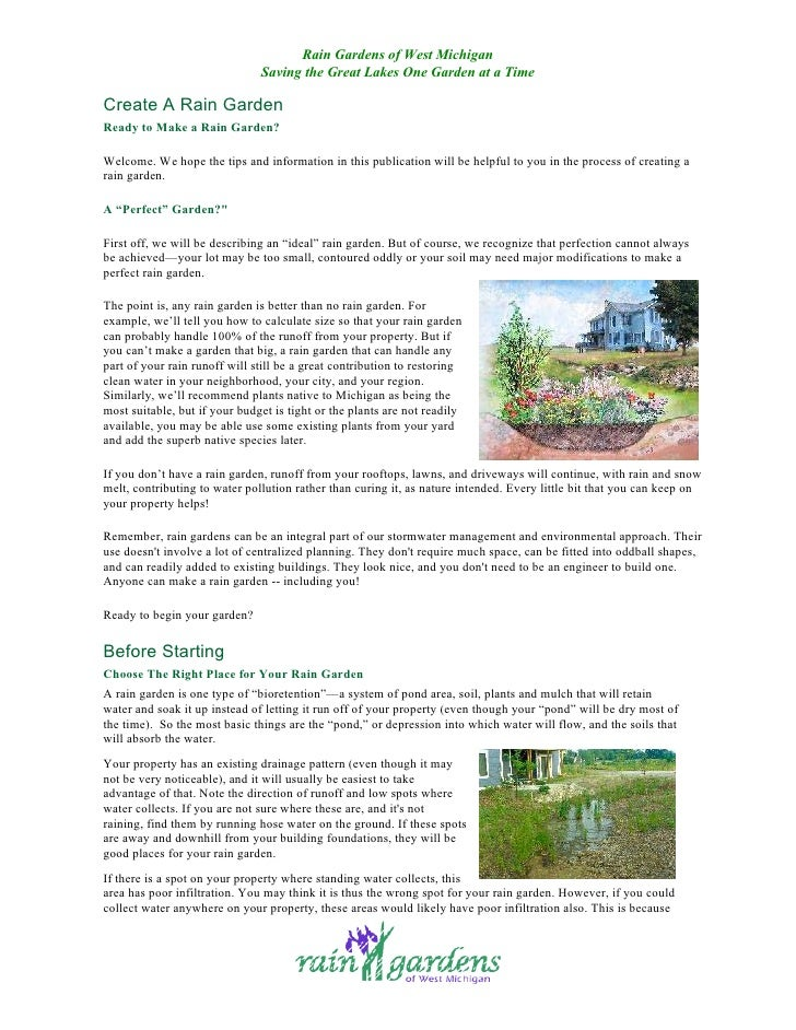 Rain Gardens of West Michigan                                Saving the Great Lakes One Garden at a Time  Create A Rain Ga...