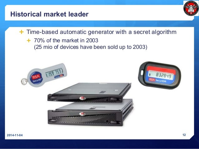 Historical market leader  Time-based automatic generator with a secret algorithm  70% of the market in 2003 (25 mio of d...