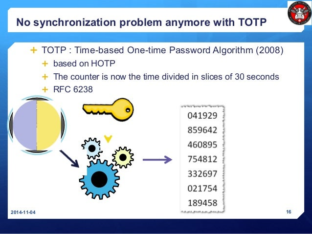 No synchronization problem anymore with TOTP  TOTP : Time-based One-time Password Algorithm (2008)  based on HOTP  The ...