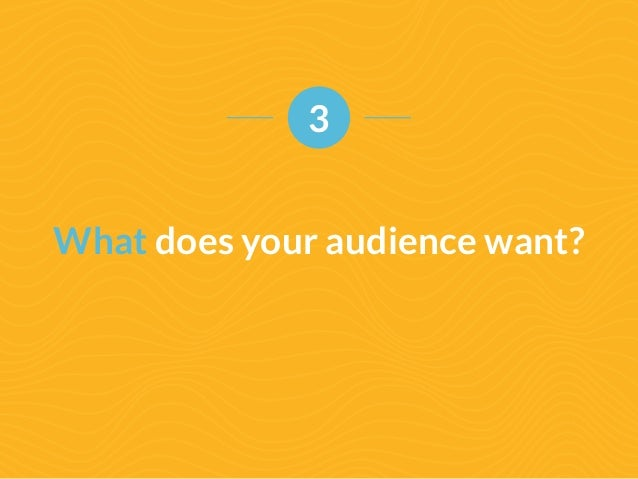 3  What does your audience want?