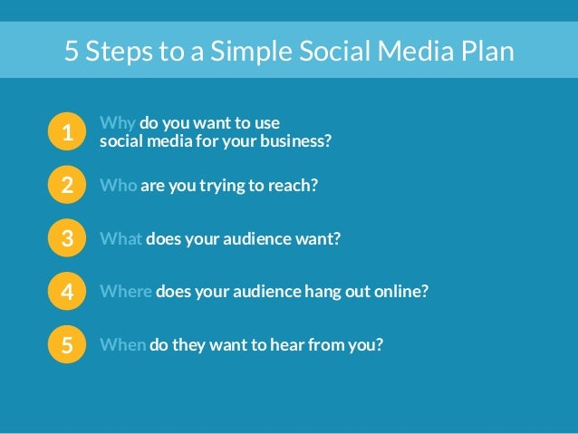 5 Steps to a Simple Social Media Plan  1 Why do you want to use  social media for your business?  2 Who are you trying to ...