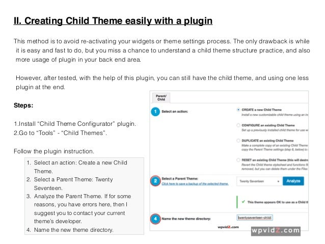 Creating a Child Theme with WordPress 4.7 or Newer
