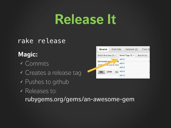 Release It rake release  Magic: ✓ Commits  ✓ Creates a release tag  ✓ Pushes to github  ✓ Releases to:    rubygems.org/gem...