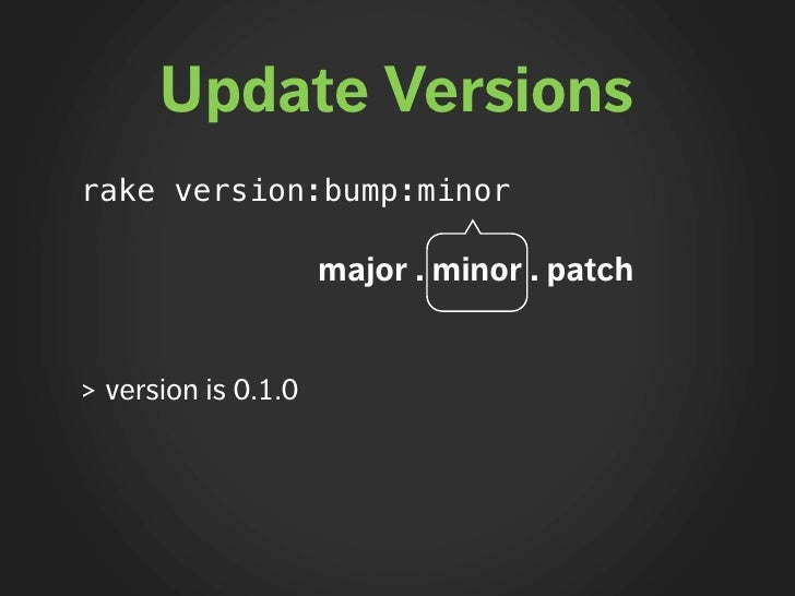 Update Versions rake version:bump:minor                       major . minor . patch   > version is 0.1.0