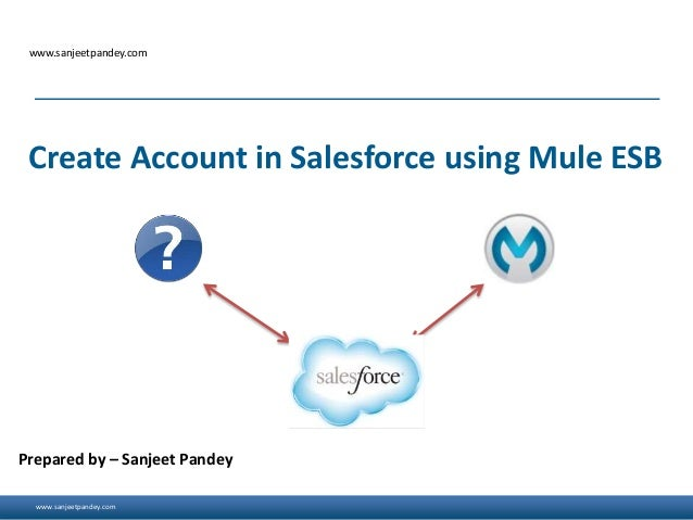 www.sanjeetpandey.com www.sanjeetpandey.com Prepared by – Sanjeet Pandey Create Account in Salesforce using Mule ESB
