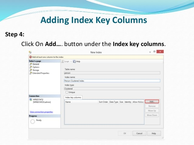 how to create index in sql