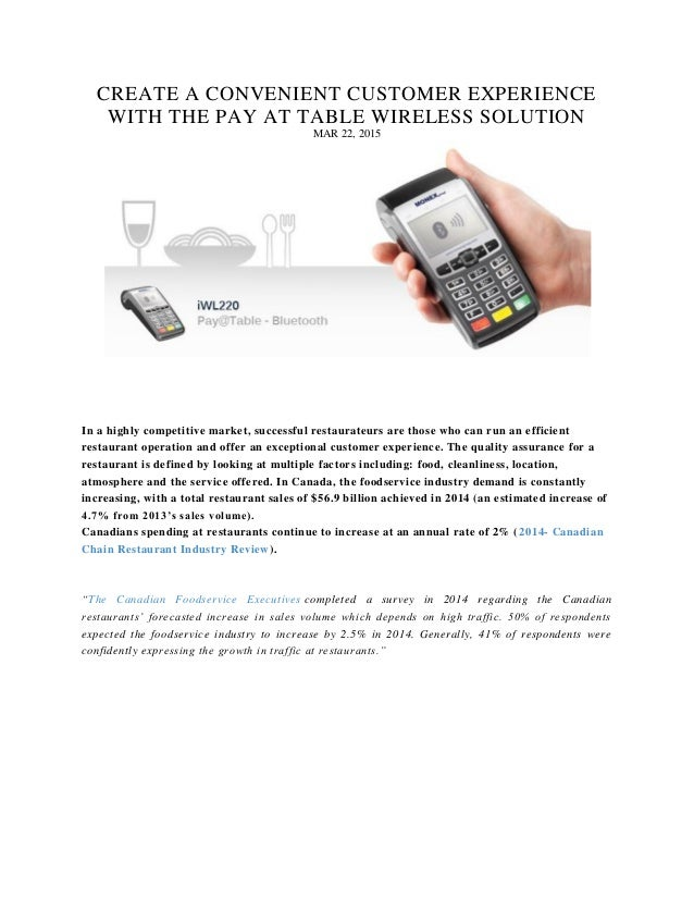 Create A Convenient Customer Experience With The Pay At Table Wireles - Pay at the table restaurant